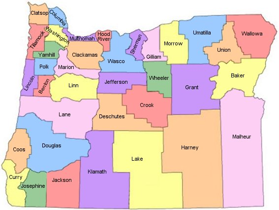 Map of Oregon counties