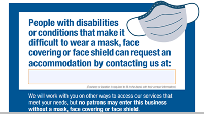 Mask accommodations sign