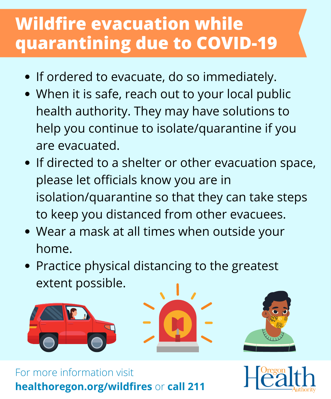Wildfire evacuation while quarantining due to COVID-19