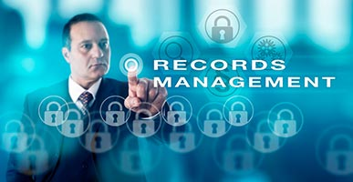 words records management and a man touching a button
