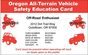 ATV Safety Education Card