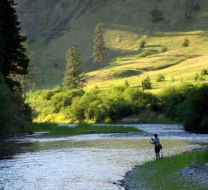 Fishing on the Wallowa River at Minam State Park