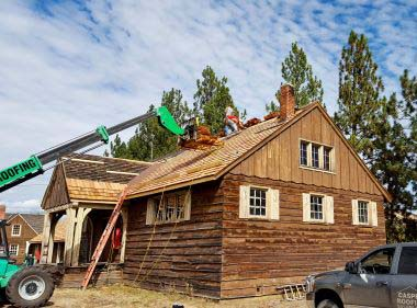 roof repair on a historic cabin