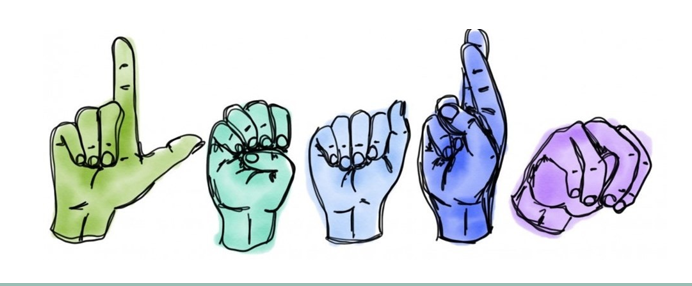 Handshapes of L, E, A, R, and N