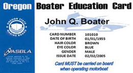 Image of a boater education card
