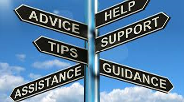 Crossroads signs pointing toward advice, tips, help and support