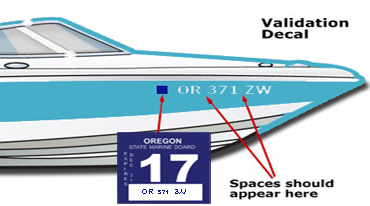 Where to place registration decals and OR numbers on the bow of a boat