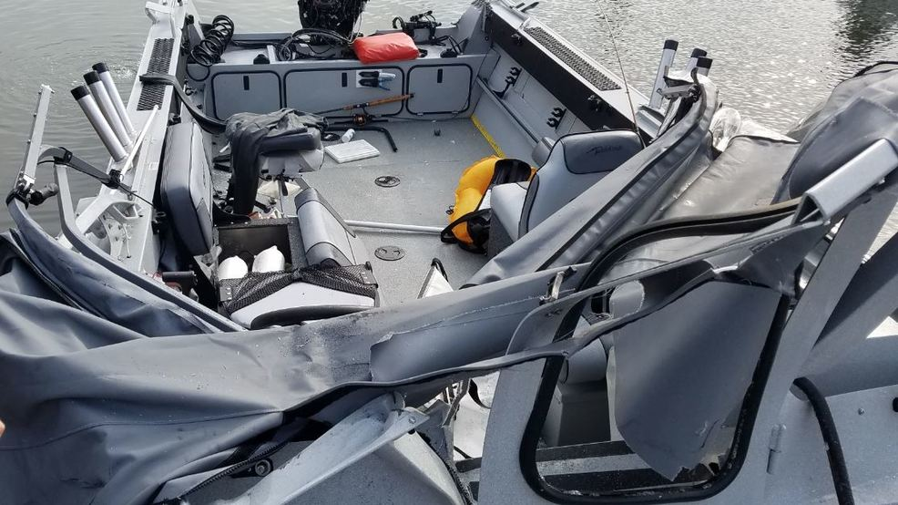 Collision from 2018 Buoy 10 when one boat ran over another.