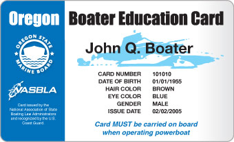 Oregon State Marine Board : Boater Education Cards : Boater