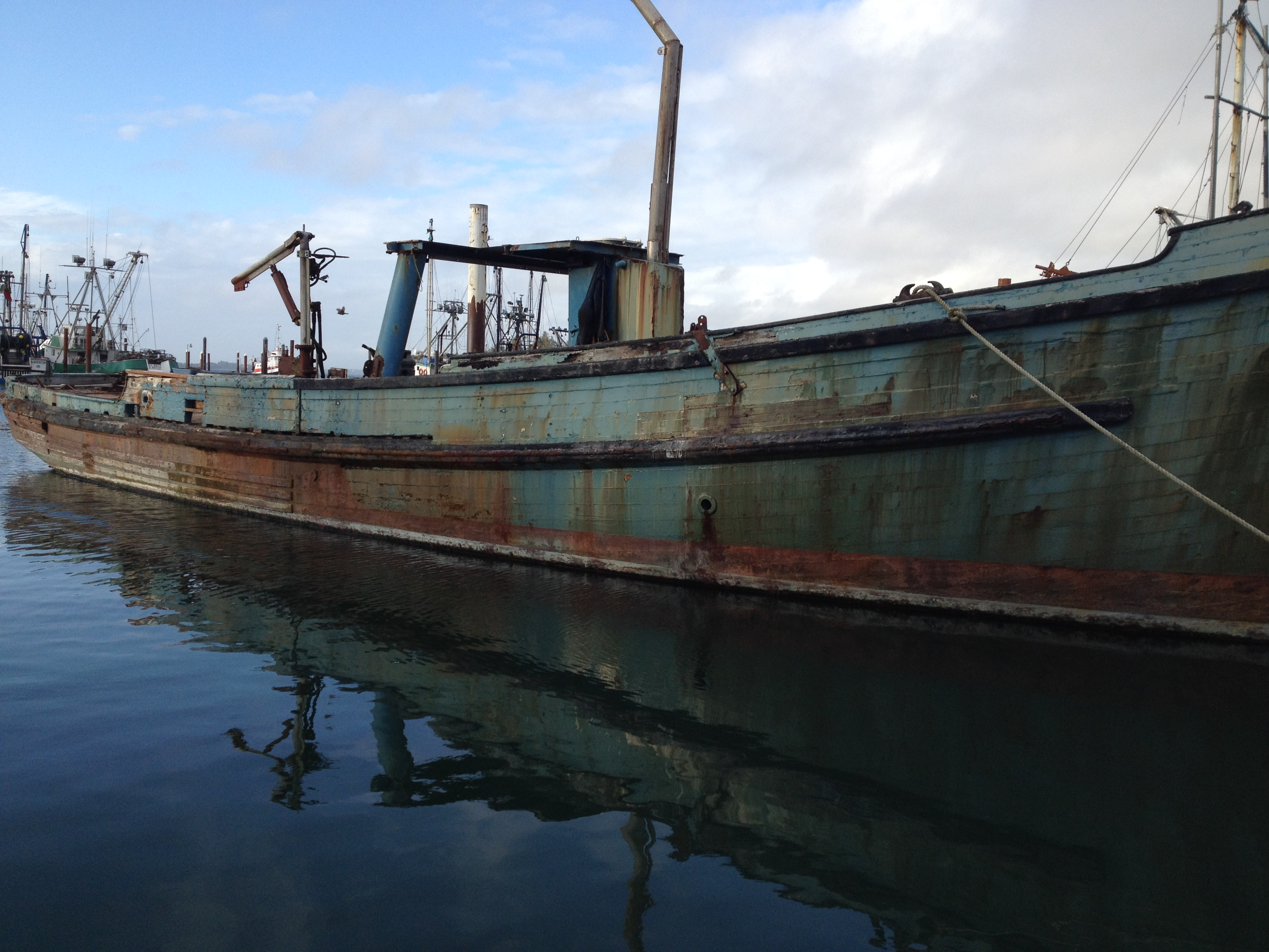 The Western -a derelict boat that eventually sank and was removed in 2016 from Coos Bay