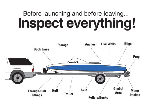 Boat and trailer image with areas to inspect for aquatic invasive species