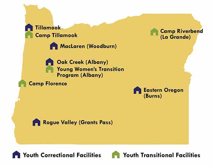 Oregon map with locations of OYA facilities