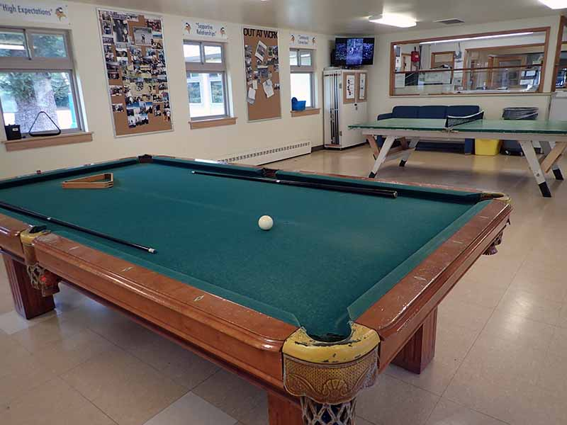 pool table in day room