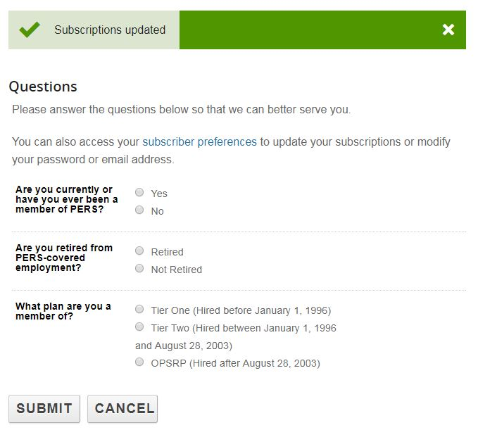 Image showing the fourth, optional step in GovDelivery. You can answer optional questions about your PERS membership.
