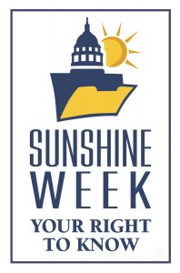 Logo for sunshine week with sun shining behind a capitol building dome.