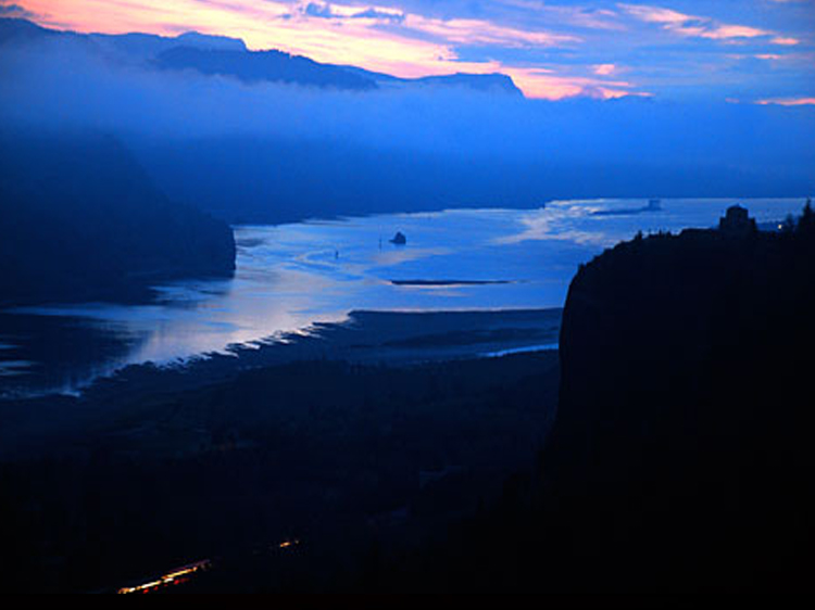 The Columbia River Gorge & Crown Point at sunrise from the Women's Forum Viewpoint (Oregon State Archives Photo).